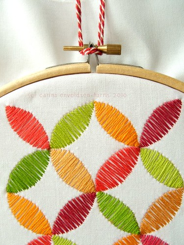 Fruity geometric embroidery