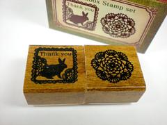 Kodomo No Kao Match Box Stamp Set - Rabbit & Lace (J_Flair) Tags: cute rabbit bunny scrapbooking japanese lace kawaii stationery greeting rubberstamp kodomo matchbox zakka kodomonokao