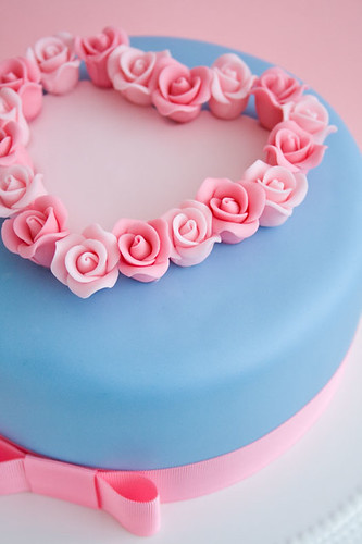 Valentine's cake with roses close up
