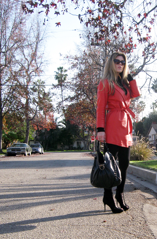 coral red leather vintage coat-05