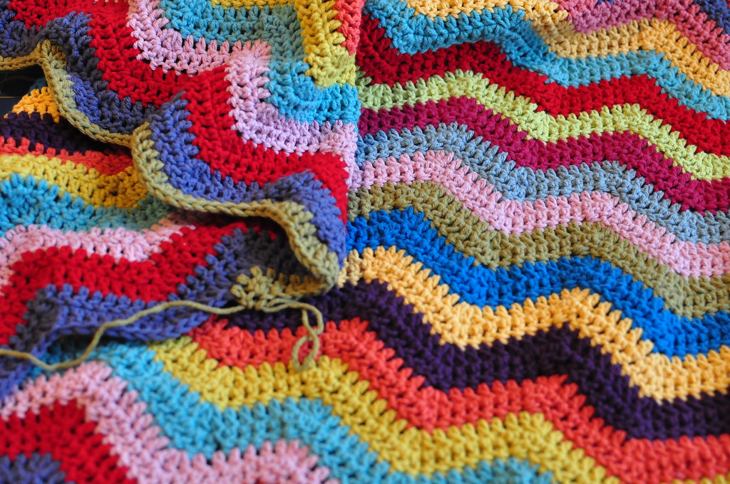 Knitting Pattern For Rippling Waves Afghan : Texas Freckles: Ripple Wave Afghan