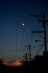 Goodnight Moon (mattymatt) Tags: pink sunset sky clouds twilight streetlight dusk telephone fluffy pole 18thstreet moonrise mission