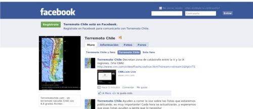 Facebook terremoto chile