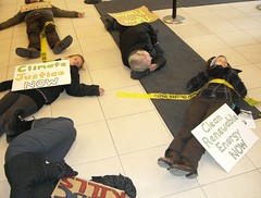 A die-in against tar sands financing