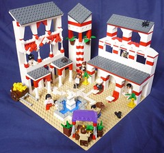 Arab City (Overview) (Lego-LM) Tags: city red white lego arab minifigs vignette diorama dealer foutain moc