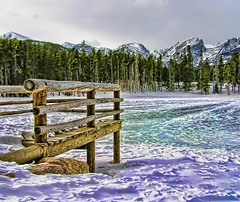 Silence is a Source of Great Strength.  ~Lao Tzu (jackaloha2) Tags: wood blue winter sun white snow mountains cold ice rock photoshop frozen colorado alpinelake rockymountainnationalpark continentaldivide observationdeck approachingstorm topazadjust jackaloha2