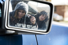 closer than we appear. (Courtney Spangler) Tags: camera blue winter boy portrait woman selfportrait man reflection girl hat car canon pose mirror jacket 5d sideview objectsinmirror courtneyspangler
