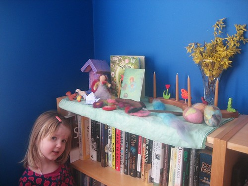 Hannah and our nature shelf