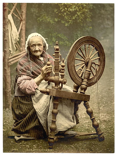 [Irish spinner and spinning wheel. County Galway, Ireland] (LOC)