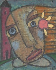 Red House (Sissy Sparrows) Tags: acrylic folkart outsiderart cardboard whimsical sissysparrows redhousesissysparrowsacryliccardboardwhimsicalfolkartoutsiderartpaintinghousesgirl