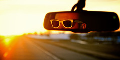 Off into the sunset...Photo 76 (BrennanSchnell) Tags: sunset car sunglasses drive mirror nikon driving ray edited grain rearview noise ban rayban 365project d300s