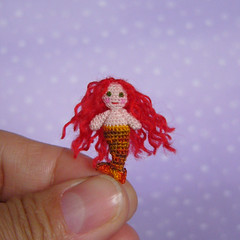 Red haired mermaid (MUFFA Miniatures) Tags: cute miniature funny doll handmade oneofakind ooak crochet mermaid amigurumi dollhouse muffa cdhm threadminiatureanimals
