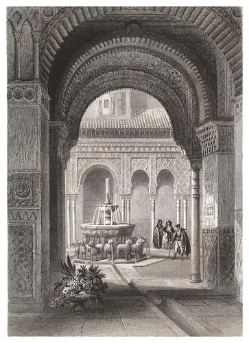 018-La Alhambra-Patio de los Leones-Voyage pittoresque en Espagne et en Portugal 1852- Emile Bégin