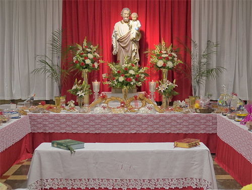 Altar of Saint Joseph at the school cafeteria of Saint Ambrose Roman Catholic Church, in Saint Louis, Missouri, USA