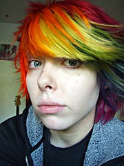 Gah you have no idea how much I miss this hair!! (Megan is me...) Tags: blue red portrait orange color green colors smile fashion rose yellow self hair effects photography one diy clothing crazy rainbow eyes colorful neon pretty colours russell mckay bright unique awesome meg violet plum megan style nuclear special clothes kind fishbowl iguana jerome colored mayhem punky striped bleached dyed napalm sfx rosered megface meganisme bleachednapalmorange meganyourface