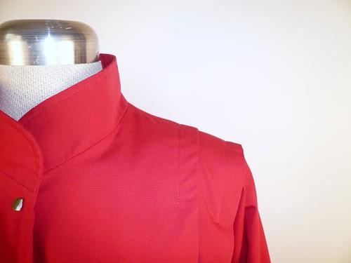 Shoulder Detail - Red Spring Batwing Coat with Snaps