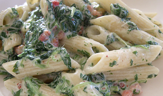 DotD: Cream cheese, spinach and bacon pasta
