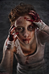 There Will Be Blood (Sophie Rata) Tags: dark fight makeup tanktop freckles staged lowkey elke bandages fakeblood blodd agressive grimme redheir sophierata