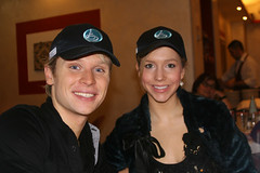 Mark and Chrissy with Centennial Worlds caps at their birthday meal.