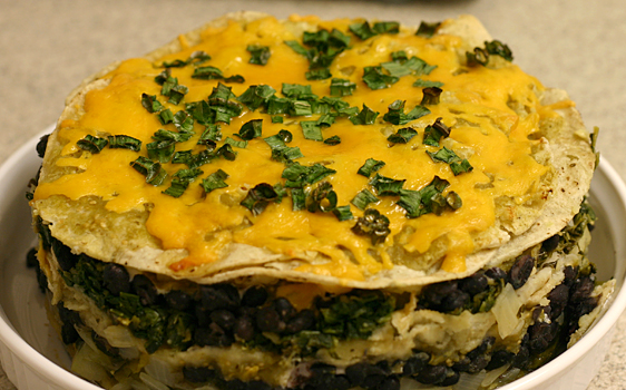 Black bean, roasted pepper, spinach, and tortilla casserole