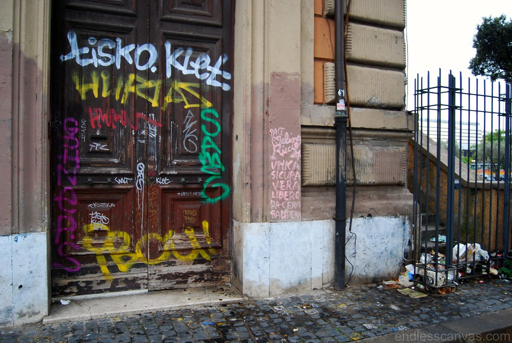 Crushed Graffiti Door in Rome Italy.