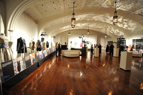 Early guests admire the garments on display