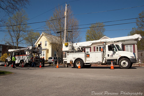 Power company trucks