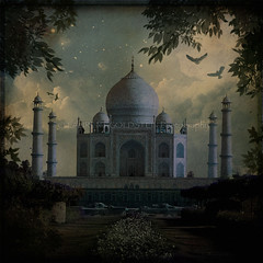 A Tear Drop in the Face of Eternity (designldg) Tags: travel blue sky india heritage love birds mystery architecture clouds evening colours symbol magic muslim islam dream atmosphere tajmahal agra icon symmetry soul ethereal devotion geometrical marble celestial mughal uttarpradesh  indiasong