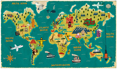 The World (Paul Thurlby) Tags: world bear trees houses sea cactus building tower animals illustration boat football baseball map jesus parliament taj mahal eiffel cricket tango kangaroo hollywood planes whale pyramids giraffe bungee chrysler polar giraffee igloo tipi greatwallofchina paulthurlby