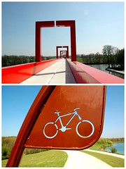 Ride On !!! (Shadows Oliv) Tags: bridge red sun france bike de spring ride val axe pont base velo doise cergy majeur loisir axemajeurthinking