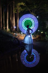 Eos (Dennis Calvert) Tags: longexposure light woman lightpainting reflection art water night forest canon dress magic alabama goddess led fantasy lp paintingwithlight mythology pwl elwire lapp coldcathode blueribbonwinner sooc denniscalvert sheswearingrubberbootsunderthatdress photonmancer
