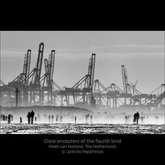 Close encounters of the fourth kind (Papafrezzo,  2007-2012 by www.papafrezzo.com) Tags: blackandwhite bw holland beach netherlands strand rotterdam harbour nederland explore northsea maasvlakte hoekvanholland