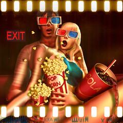 Zombie Brain Police (MiaSnow) Tags: cola sl secondlife popcorn redandblue movietheater 3dglasses 3dmovie spilleddrink miasnow miasnowmyriam mijnt zombiebrainpolice