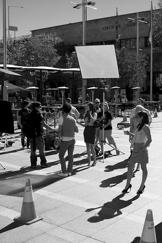 Film shoot outside the Old Sydney Customs House