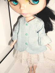 Handmade Blythe pale blue cordoroy jacket with gathered sleeves