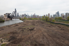 Cleared Area Along the Chicago River (metroblossom) Tags: bridge trees illinois downtown loop dirt southside chicagoriver cleared img5651 brownlands chicabo