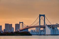 Orange in Odaiba (Clint Koehler) Tags: bridge sunset water japan tokyo bay asia odaiba dri tokyobay hdri rainbowbridge 7020028 photomatix nikond700