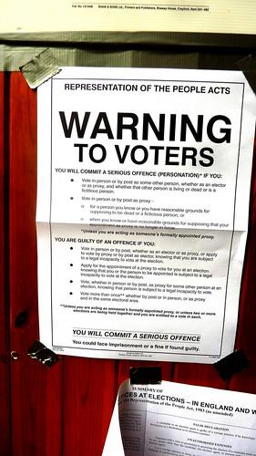 Cartel electoral en un colegio de Londres