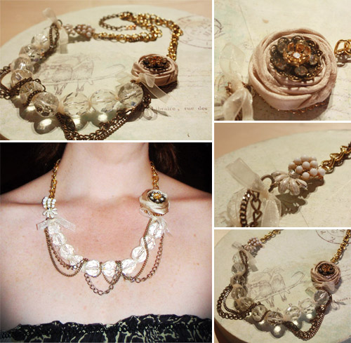 handmade, upcycled, vintage necklace
