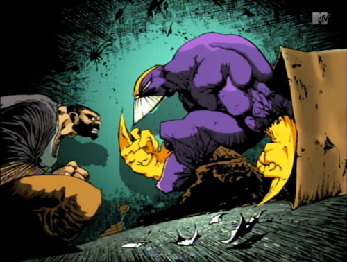 The Maxx, in an alley staredown
