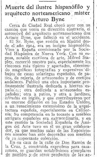 Necrológica de Arthur Byne. ABC, julio de 1935