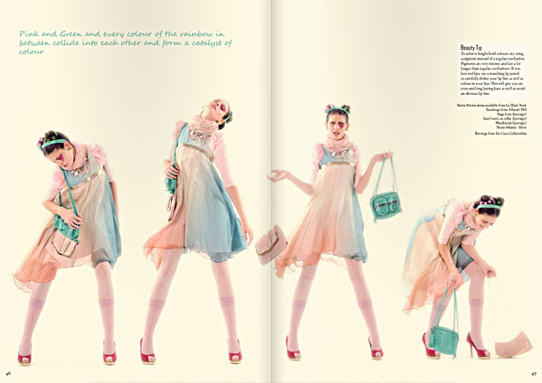 Studio photography, dress in series and handbag. The Pastel Rainbow. Le Magazine Issue 3, All The Colours Of The Rainbow