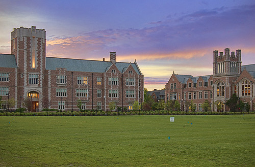 Busch Hall, Washington University, in Saint Louis, Missouri, USA - view at dusk