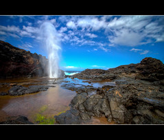 The Blowhole (JBeickert) Tags: blue vacation green beach canon hawaii lava rocks waves maui tourist adventure blowhole 7d hdr lightroom photomatix