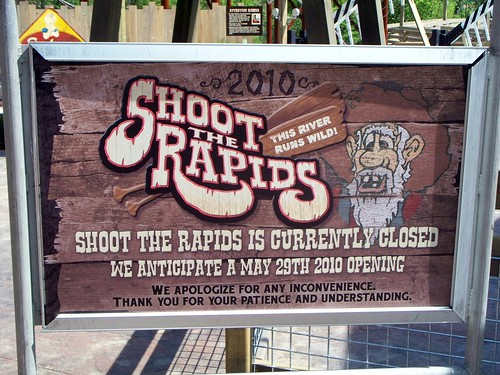 Cedar Point - Shoot the Rapids Delayed Opening Sign