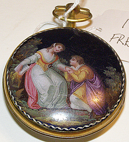 Pocket watch with courting couple