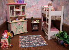 Child's Room (Diorama) (Spicyfyre Creations) Tags: pink blue red white toys ooak bunkbed 4thofjuly mattel diorama tutti reroot vintageskipper ooakskipper rerootskipper bendleg bedroomdiorama childrensdiorama ppaktutti reroottutti bendlegskipper