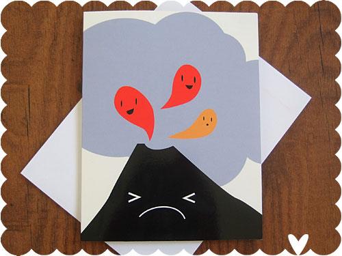 Kawaii Volcano Card