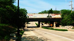 Southbound Canadian Pacific Railroad unit grain train passing over the Cherry Lane underpass viaduct. Northbrook Illinois. wednsday, May 26th  2010.