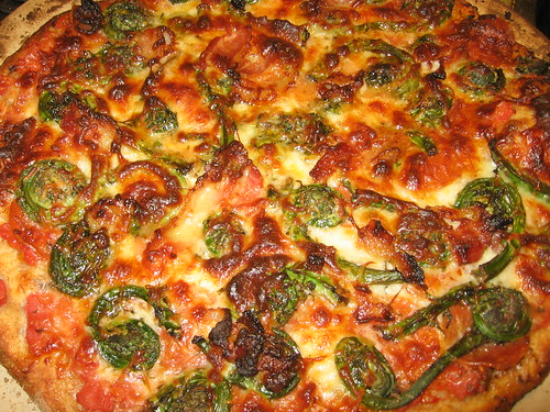 6-cheese pepperoni bacon fiddlehead pizza